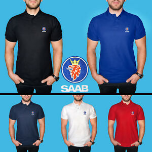 SAAB-Polo-T-Shirt-COTTON-EMBROIDERED-Auto-Car-Logo-Tee-Mens-Clothing-Gift-Casual