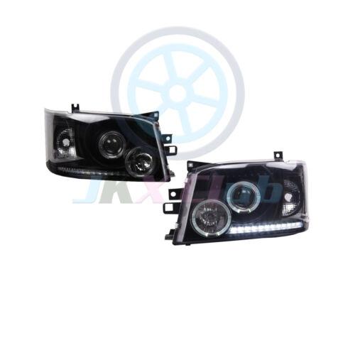 Black Lens Angel-eye COB LED Headlight Lamp Fit For Toyota Hiace 200 Van 05-10