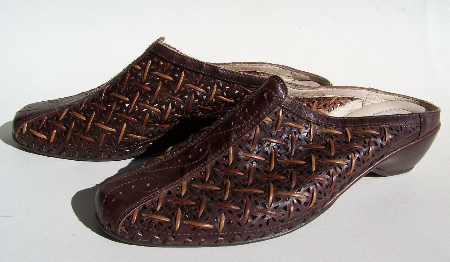 Pikolinos Woven Cut Out Leather Slides Women's 39 (US 8.5) shoes Low Heel Mules