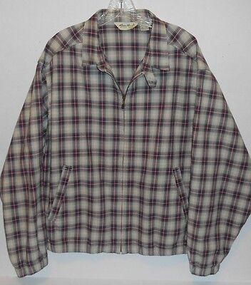 Vintage Eddie Bauer Plaid Harrington Full Zip Jacket Men's Size Large WPL 9647