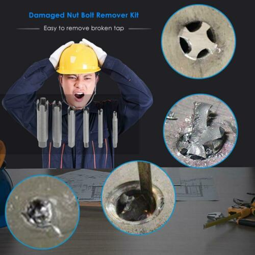 6pcs Damaged Nut Bolt Remover Kit Stud Extractor Broken Bolt Screw Remover R1BO