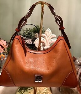 Dooney-Bourke-Large-Hobo-Tote-Satchel-Pebbled-Florentine-Vachetta-Leather-Brown