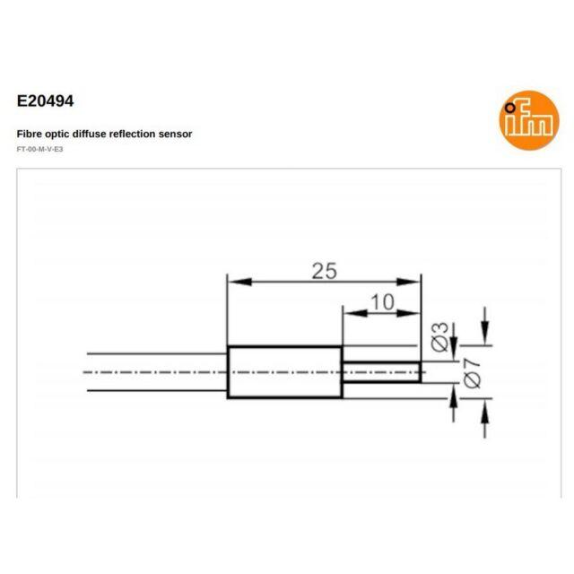 IFM E20494 Fibre Optic Diffuse Reflection Sensor For High Temp 000896