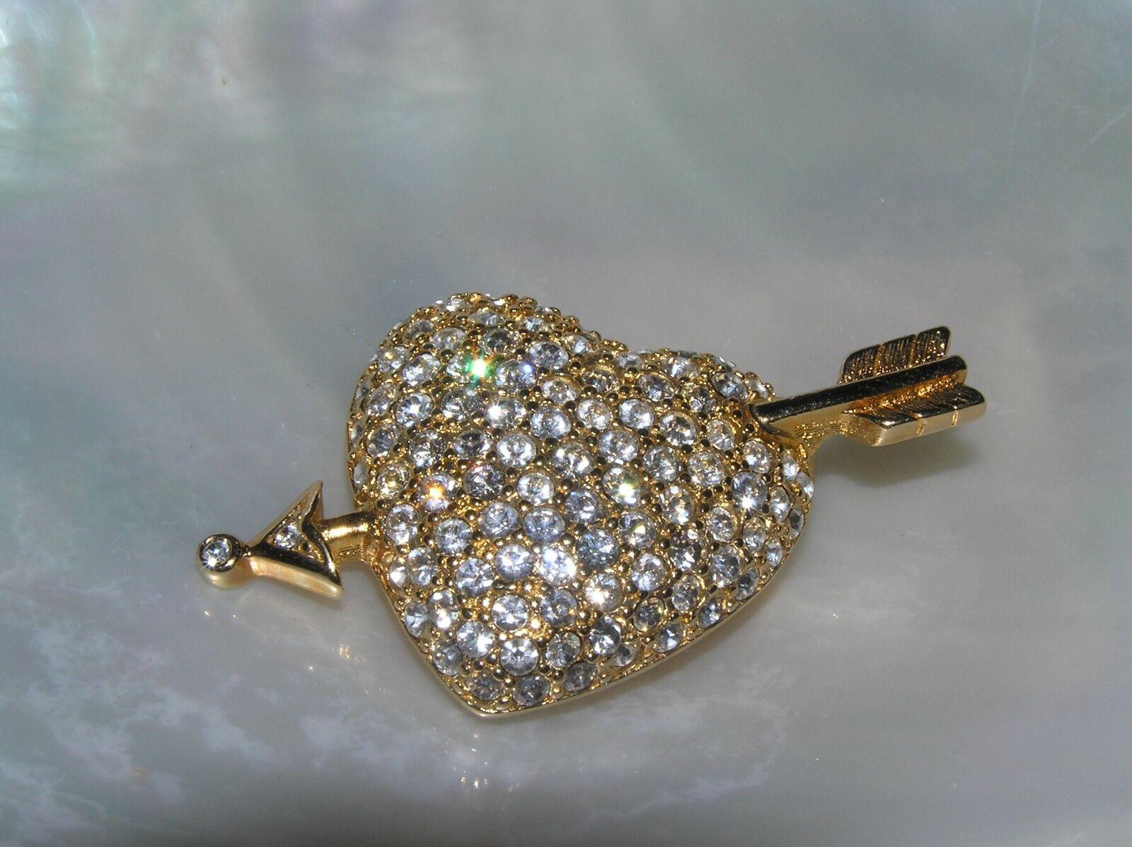 Estate Swarvoski Swan Signed Clear Rhinestone Encrusted Valentine Heart w Arrow