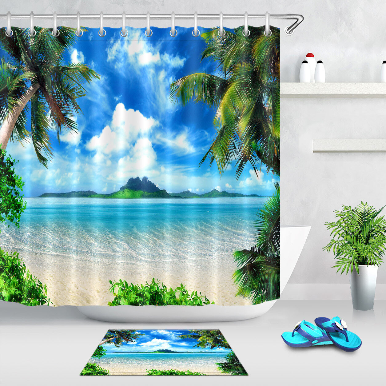 Details About Tropical Coast Beach Palm Tree Fabric Shower Curtain Set Bathroom Curtains Liner