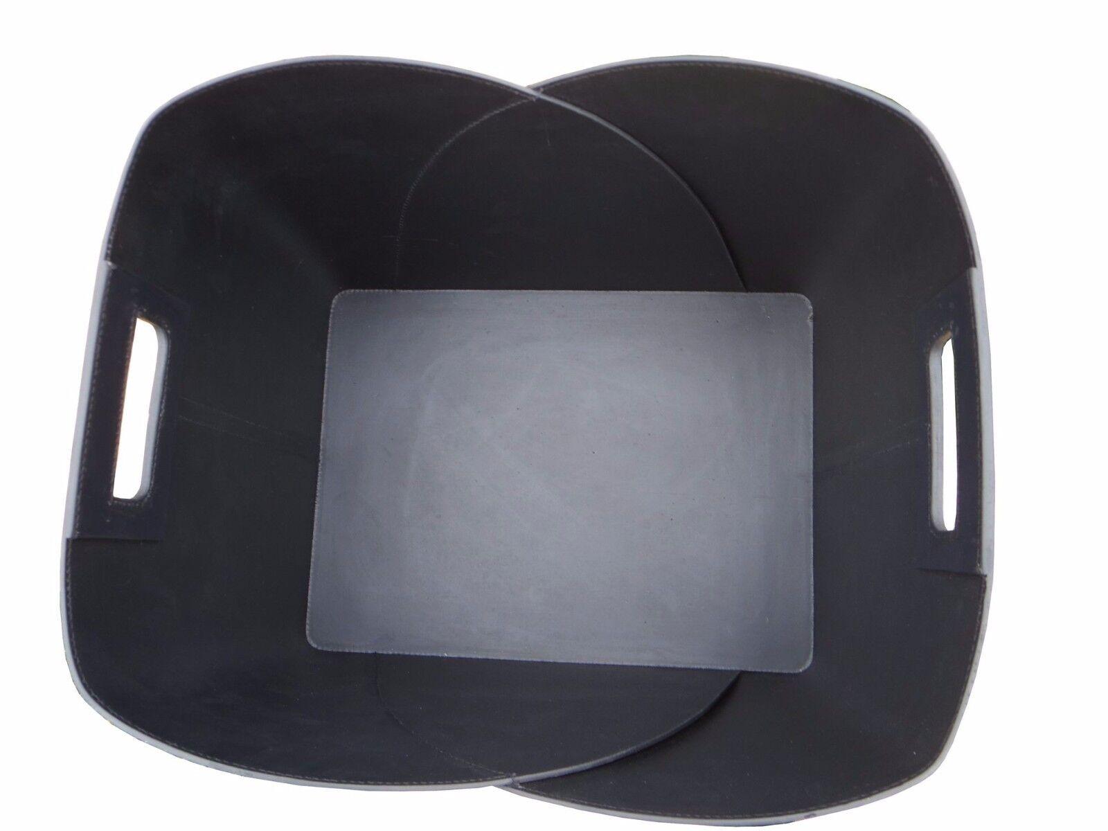 Holzkorb Holzkorb Holzkorb Umschlag Lederkorb schwarz aus recyceltem Leder für Kaminholz 2e57a0