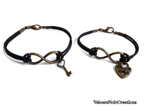 2 bracciali infinito lucchetto chiave bronzo vintage retrò regalo fidanzati