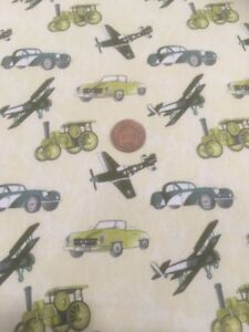Planes-Trains-Automobiles-Buttercream-100-Cotton-Quilting-Craft-Fabric