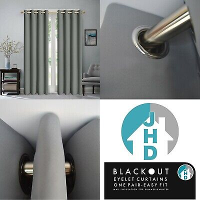 Slate Grey Eyelet Curtains Blackout