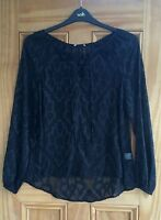 Ladies New Black Chiffon Textured Lace up  Front Blouse Top Size 6-14