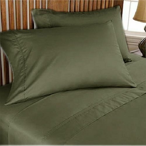 1000TC EGYPTIAN COTTON BEDDING COLL. 6 PCS FITTED SHEET+DUVET COVER OLIVE