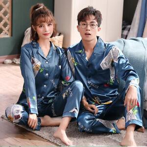 Mens Womens Silk Satin Pajamas Set Couple Sleepwear Long Sleeve Unisex Nightwear