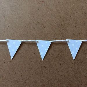 Handmade-Mini-small-Paper-card-Bunting-Shabby-Chic-Pale-Grey-And-White-Spots