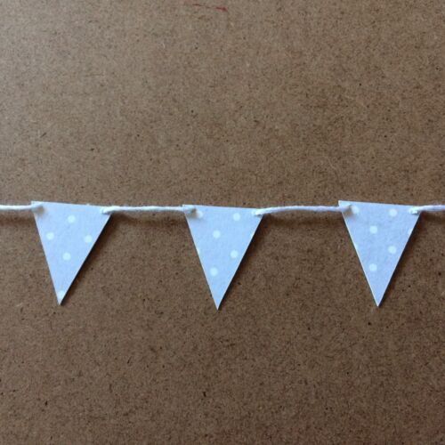 Handmade Mini//small Paper//card Bunting Shabby Chic Pale Grey And White Spots