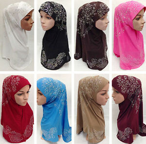 Women-Muslim-Hijab-Islamic-Flower-Long-Scarf-Shawls-Headwear-Hats-Caps-Amira