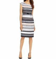 Connected Apparel Dress Sz 8 Taupe Multi Striped Sheath Business Cocktail Dinner
