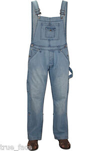 Men-Women-Unisex-Light-Wash-Denim-Dungarees-All-In-One-Piece-Bib-Overalls