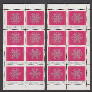 Canada-556p-10-Christmas-Snowflakes-Match-Set-Corner-Blocks-W2B-Tagged-MNH