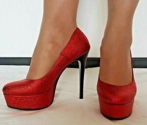 83 scarpe decollete glitterate rosse tacco a spillo 14 cm con plateau nero 3 cm ebay dettagli su 83 scarpe decollete glitterate rosse tacco a spillo 14 cm con plateau nero 3 cm