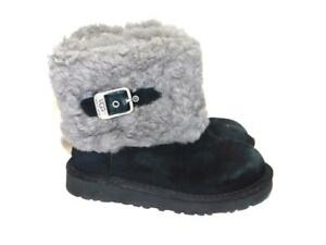UGG-11-Girls-Black-Suede-Ellee-Sheepskin-Lined-Boot-Side-Buckle-Pull-On-Cuffed