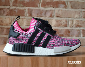 68d618910 Women s Adidas NMD R1 PK Primeknit Shock Pink Rose Glitch Black ...