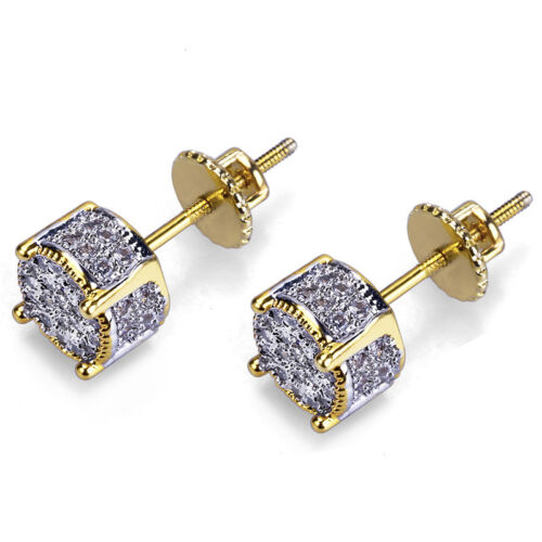 Men/'s Hip Hop Iced Out CZ 18k Gold Plated Two Tone Block Screw Back Stud Earring