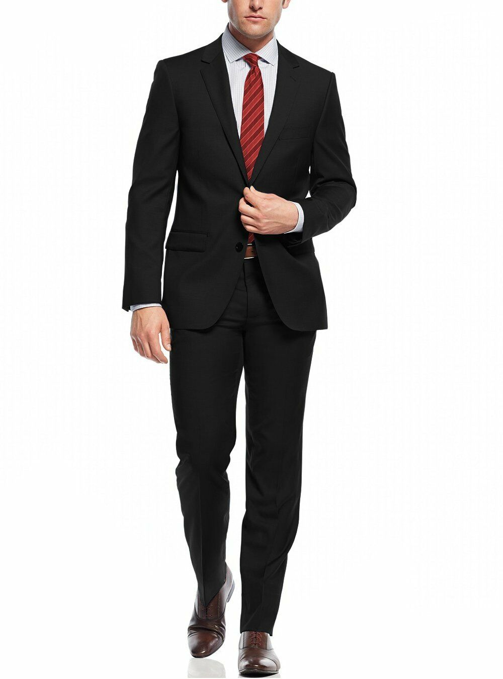 Nicoletti Two Button Slim Fit  Herren Suit Working Holes