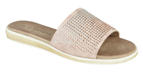 Femme Strass Jewel Mules Tongs Sandales Noir Or Rose Taille 3 4 5 6 7 8