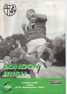LONDON-IRISH-v-DAX-27th-SEPTEMBER-1997-RUGBY-PROGRAMME