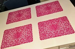 Pink-Lace-Design-Indoor-Outdoor-Reuseable-Placemats-Set-of-4