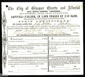 Share Scrip - Gold Mining 1864 City of Glasgow Quartz & Alluvial. Buninyong Vic
