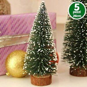 Addobbi Natalizi Ebay.Set 5 Alberelli Innevati Mini Albero Natale 26cm Decorazioni Addobbi Natalizi Ebay
