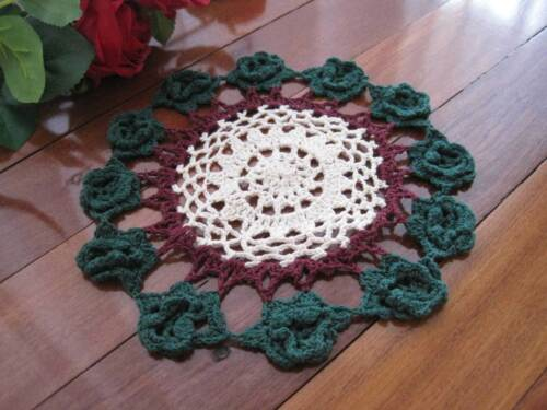 Lovely Three Mixed Color 3D Flower Hand Crochet Cotton Round Doily