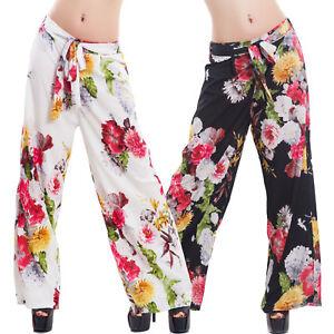 Pantaloni-donna-palazzo-ampi-fiori-fantasia-floreale-cinta-eleganti-sexy-VB-1088