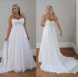 d1ce0cfcd4f Image is loading Empire-Waist-Spring-Plus-Size-Wedding-Dress-Country-