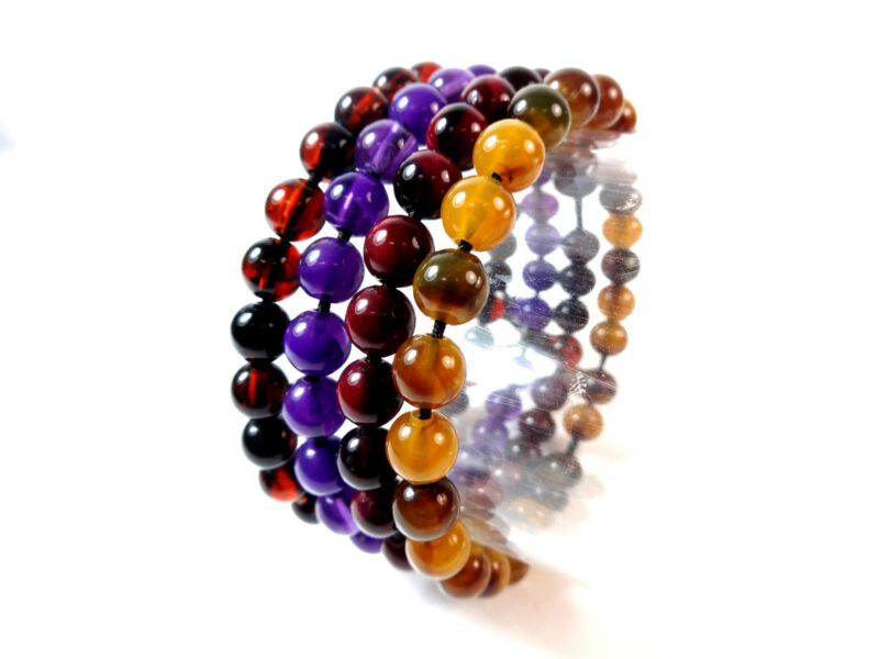 Unique Unisex Set Of 4 Beaded Bracelets Abstract Unique Stunning (b3)