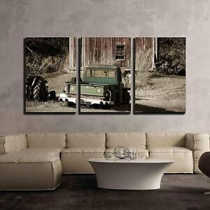 Wall26-Old-Truck-in-Front-of-Old-Barn-Canvas-Wall-Art-16-034-x24-034-x3-Panels