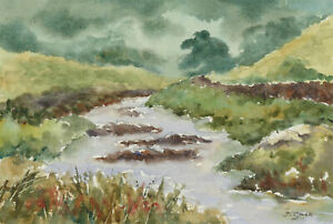 John-A-Case-20th-Century-Watercolour-River-Landscape-in-Green