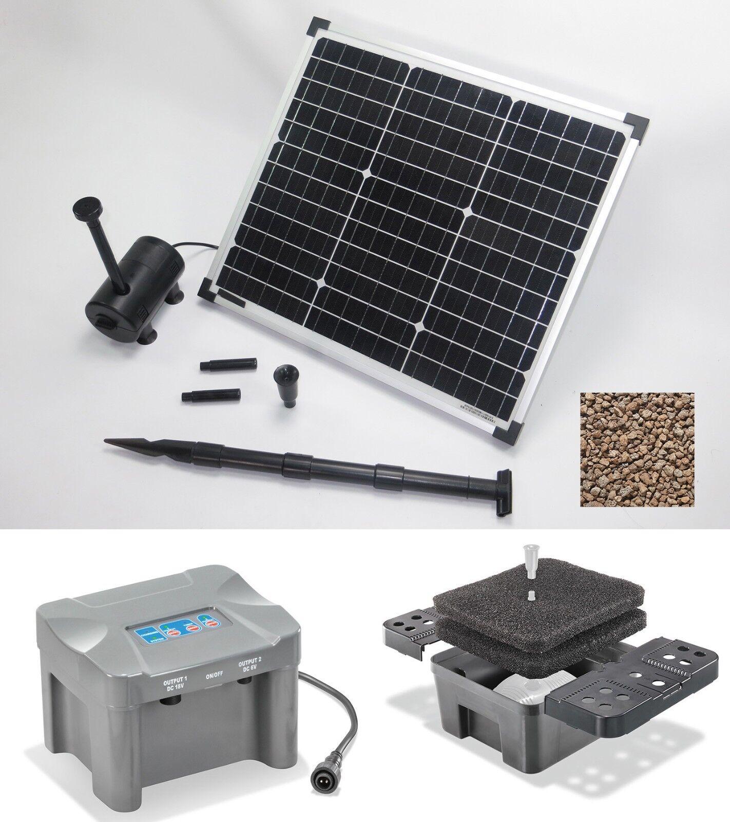 30W Bomba Solar de Estanque Filtro Sumergible Pumpenset Batería