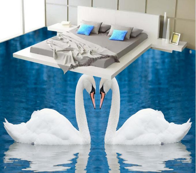 3D Lake Weiß Swans 6 Floor WallPaper Murals Wall Print 5D AJ WALLPAPER UK Lemon