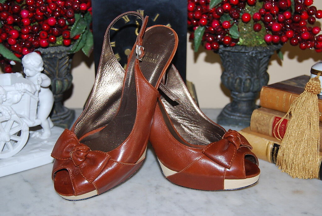STUART WEITZMAN BROWN LEATHER SLING BACK BOW PLATFORM PEP TOE Schuhe SIZE 8 1/2 M