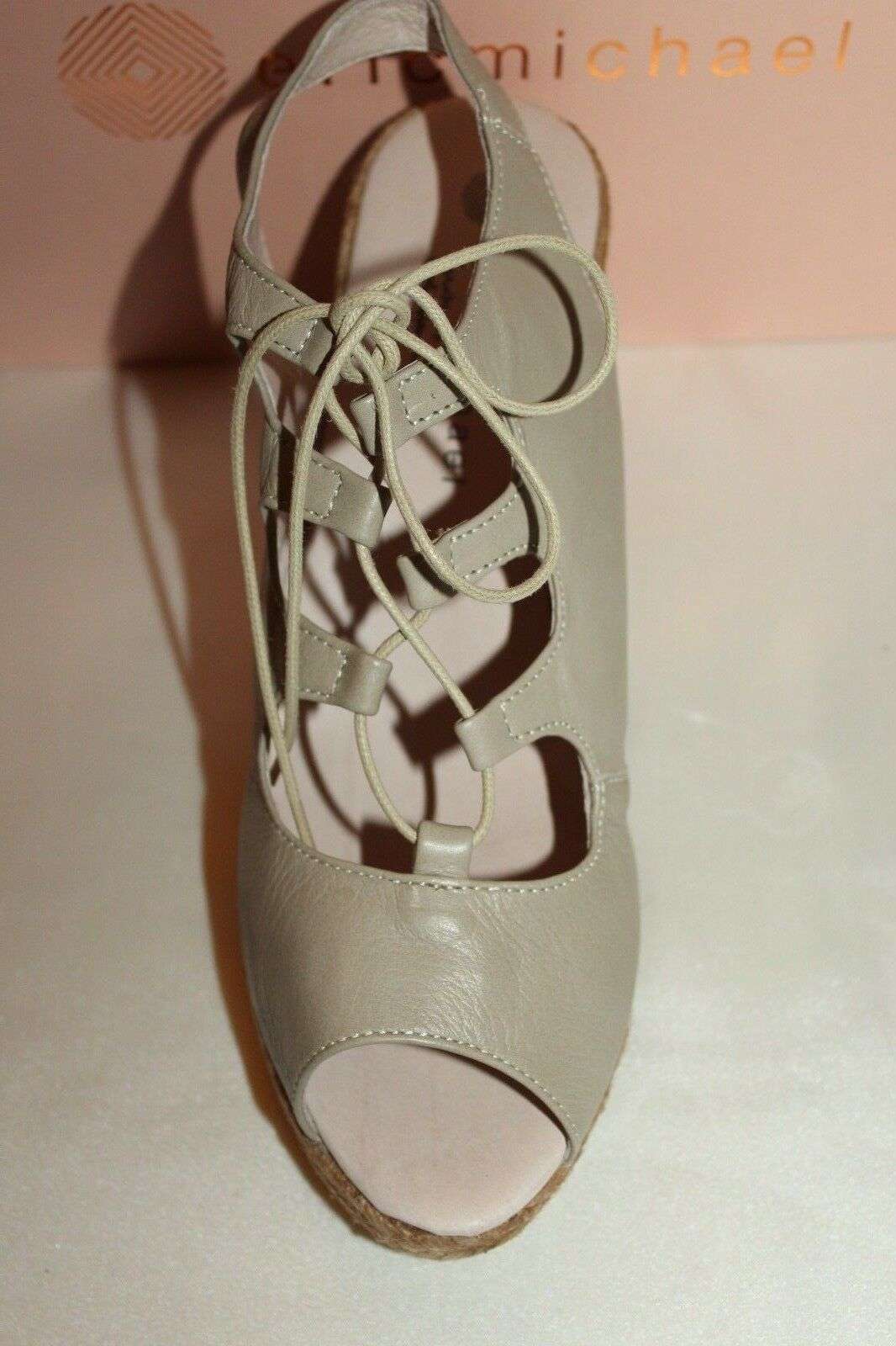NEW NIB ERIC MICHAEL Taupe Leather GOSSIP Lace Up Jute Jute Jute Wedge Sandal EU41  119 10b712