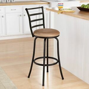 Details about Counter Stool With Back Kitchen Countertop Island Swivel  Backrests Chair Bar Tan