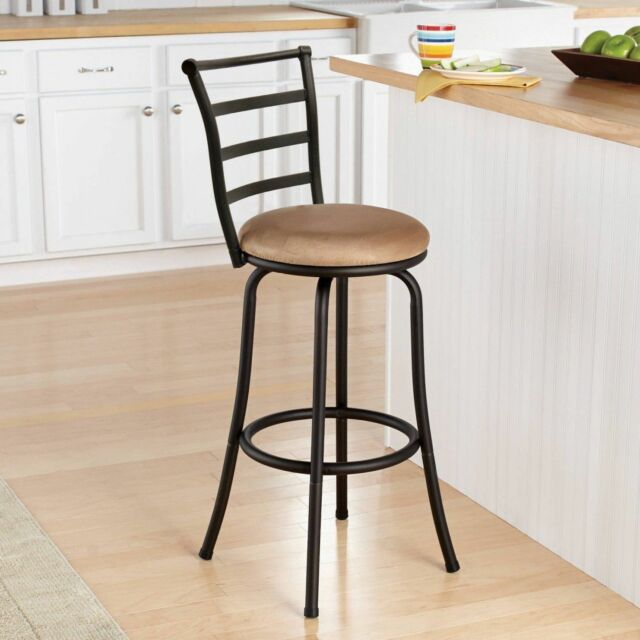 Counter Stool With Back Kitchen Countertop Island Swivel Backrests Chair  Bar Tan
