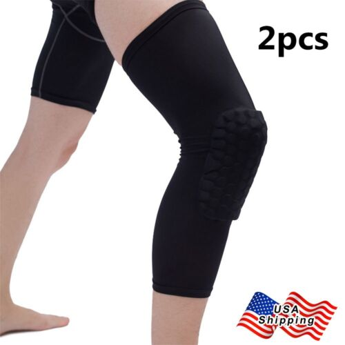 2x Black Breathable Adult Kid Basketball Knee Leg Pad Long Sleeve Protector Gear