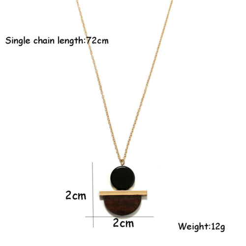 Vintage Alloy Fashion Gold Chain Geometric Circular Long Necklace Wood Resin
