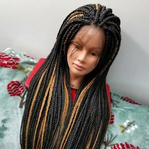 Fully Hand Braided Box Braids Lace Front Wig Color Solid 1b27 Ebay