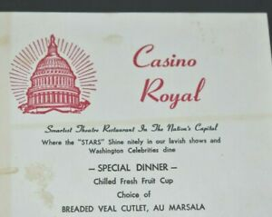 Casino Royal Paper Menu Theatre Restaurant in Nation's Capital Washington DC