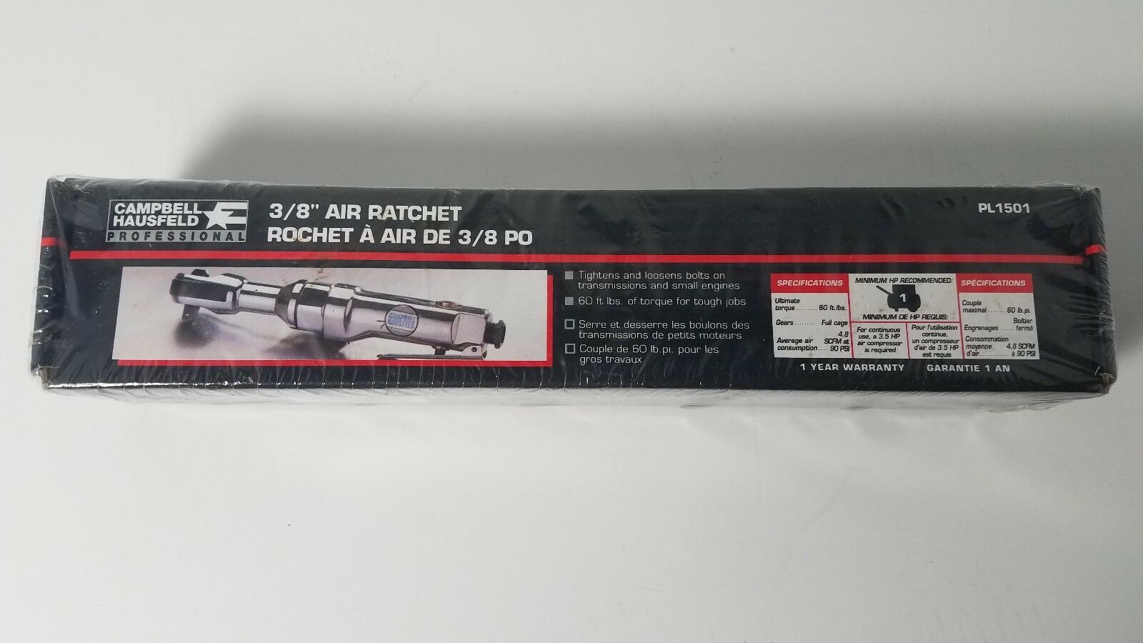 New Sealed in Box Campbell Hausfeld PL1501 Air Ratchet 3 8