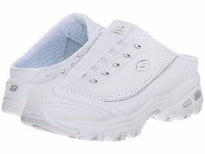 Skechers Women D'Lites Bright Sky Slip On Mule Walking Shoe White/Silver